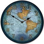 17th Century Map Clock Blue