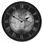 17th Century Map Clock Gray