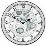 16th C. World Map Clock Gray