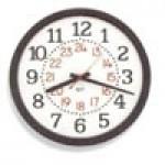 """Franklin K-Series Clock - 12"""" Quartz, 12/24 Hour, Two Color Dial - Black Case"""