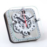 "6"" Square Dual Use (Table/Wall) Moving Gear Clock - Glass Cover"