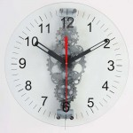 Large Moving-Gear Wall Clock with Glass Cover
