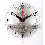 Large Moving Gear Wall Clock with front glass dial