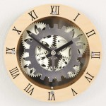 "12"" Moving Gear Wall Clock with wooden dial ring"