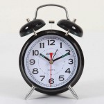 "4"" Black Double-bell Table Alarm Clock"