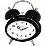 Oval Dual Double Bell/Electronic Alarm Clock - Black