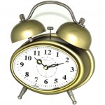 Oval Dual Double Bell/Electronic Alarm Clock - Gold