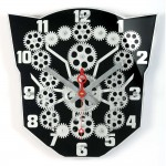 "13"" Moving gear wall clock with black plexy dial"
